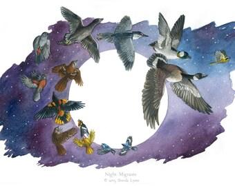 Night Migrants - Migrating Birds with Moon - Wildlife Bird Print
