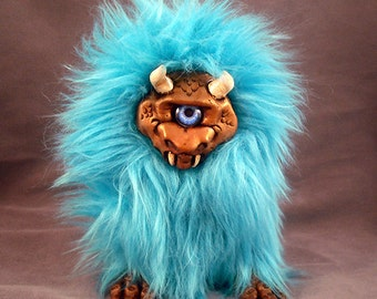 Cast Resin Troll Art Doll Blue Oni