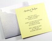 Zig Zag Pocket Invites, Yellow and Grey Invites, Wedding Invitations, Silver and White, Etsy Weddings, Gray Stripes, Zig Zag Pattern