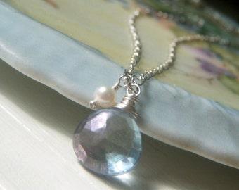 Pale Blue Necklace, Mystic Blue Quartz Necklace, Minimalist Pendant, Briolette Pendant Necklace Sterling Silver, Gemstone Pendant