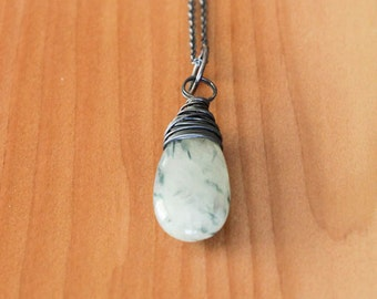 Oxidized Sterling Silver Necklace with Wire Wrapped Solar Quartz Pendant - Greenery // L205