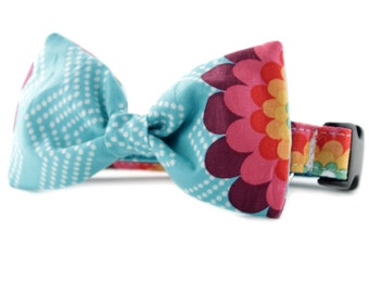 Turquoise Bow Tie Dog Collar - Aqua Splash Bow Tie Dog Collar - Teal Bow Tie Dog Collar -  bowtie dog collar - flower bowtie