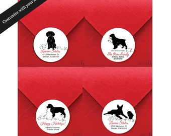 Holiday Labels, Gift Tags, Christmas Stickers, Personalized Labels, Address Labels, Golden Retriever, Cocker Spaniel, Boykin Spaniel