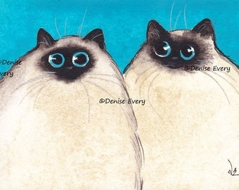 Cat Art Print Himalayan Ragdoll Abstract Cat Art Cat ACEO Print Fun Cat ACEO Art Print Cat ACEO Cat Lover Cat Gift by Denise Every