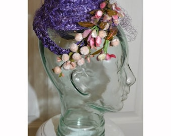Vintage 1950's Handmade Purple Straw Hat with Netting and Flowers