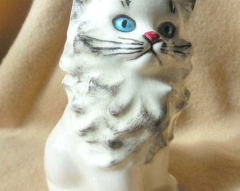 Vintage Blue  Eyed Kitty Cat Planter remade into Pin Cushion