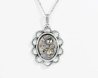 Steampunk Ornate Victorian Frame Silver Necklace with Vintage Watch and Pale Grey Sparkling Swarovski Crystal by Velvet Mechanism