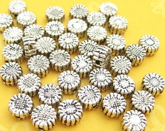 20 Sunflower Beads - Disk Beads - Coin Beads - Silver Plated - Flower Beads - Round Beads - Metal Beads - Spacer Beads - DIY Jewelry -TS107B
