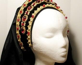 Renaissance French Hood, Tudor Headpiece, Renaissance Headpiece, Headpiece, Renaissance Hat, Renaissance Headdress, Red Queen Claude
