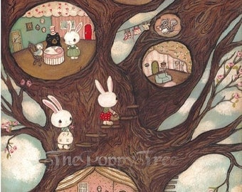 Tree Print Animal Art Critter Bunny Rabbit Bear Print Children Wall Art---Forest Grove Apartments