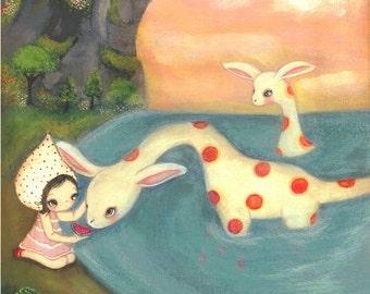 Sea Monster Print Girl Ocean Nautical Children Wall Art---Watermelon Bay