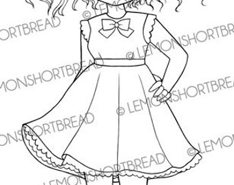 Digital Stamp Babydoll Dress Girl, Digi Download, Cute Fashion Anime, Big Eyed Art, Ribbon, Coloring Page, Clip Art, Scrapbooking Supplies