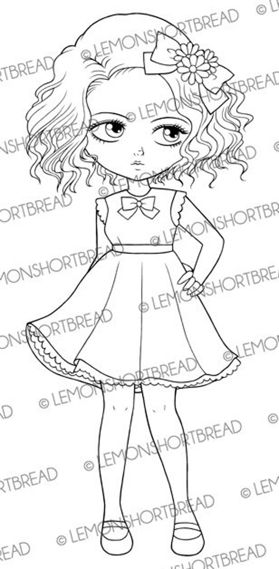 Digital Stamp Babydoll Dress Girl, PNG Digi stamp, Cute Kawaii Fashion Doll, Big Eyed Art, Flowers Ribbon Graphic, Instant download