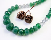 Crystal and Evergreen Necklace, Graduated Style, Laura Mae Jewelry, OOAK, Free Shipping