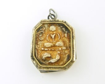 Buddha Pendant - Rustic Carved Sitting Buddha with Rooster Asian Tribal Amulet Charm |BD1-4|1