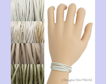 Custom White LEATHER Cord Wrap Bracelet up to 72 inches long - choose shade, diameter, length, clasp color - 1.5 mm, 2 mm or 3 mm  off-white