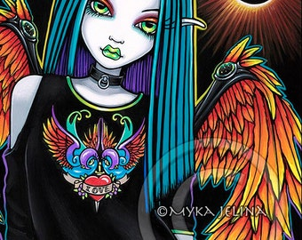 Gothic Eclipse Rainbow Angel Psychedelic Horned Solar Fairy Ltd Canvas ACEO