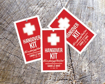 Hangover Kit Favor Tag or Sticker- Day After Wedding Tag Label - Welcome Bag Headache Gift Tags - Thank you tags Hangover Helper Stickers