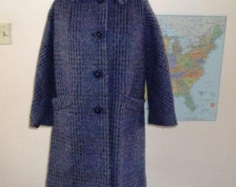 Purple Coat Vintage 1960s Plum wool boucle sz M/L