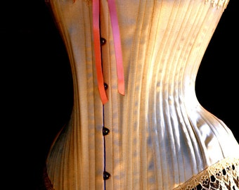 Traditional Victorian Wedding Corset- Ivory Lingerie, wedding clothing, boned,boudoir