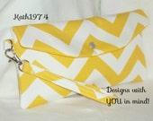 Yellow Clutch - SALE - Fold Over Envelope Clutch w/detachable wrist strap - Premier Prints - Zig Zag - Bridesmaid clutch - Birthday Gift