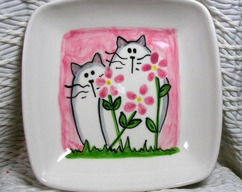 Cats & Pink Flowers On Square Ceramic Dish Handmade Pet Dish by GMS