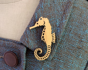 Seahorse Brooch / Pin - Laser Cut Acrylic (C.A.B. Fayre Original Design)
