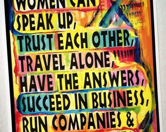 WOMEN CAN Speak Up Inspirational Quote FEMINIST Motivational Print Original Saying Typography Poster Gift Heartful Art by Raphaella Vaisseau