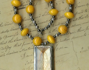 Cicada Wing Necklace with Orange Glass Beads