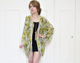 Boho kimono jacket, fringe kimono, tassel kimono, floral kimono jacket, sheer kimono, beach cover up, festival kimono, summer jacket, kimono
