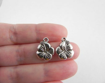 20 Hibiscus Flower Charms in Antiqued Silver - 15mm x 12mm - double sided