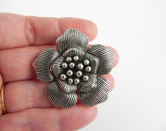 Flower Focal Pendant in Antiqued Silver - 39mm