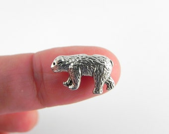 20 Bear Pewter Beads - Antiqued Silver - 10mm x 15mm - Vertical Hole