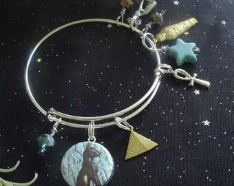 Cat Goddess Bast on Blue Expandable Stackable Bangle Charm Bracelet