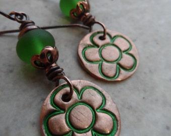 Fresh! ... Copper Charms, Sea Glass Lampwork and Copper Wire-Wrapped Floral, Boho, Mod Flower Earrings