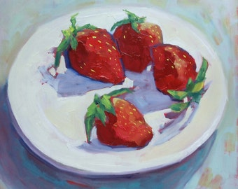 Still Life Oil Painting:  Strawberries  12 x 12 Square Canvas// Wall Decor