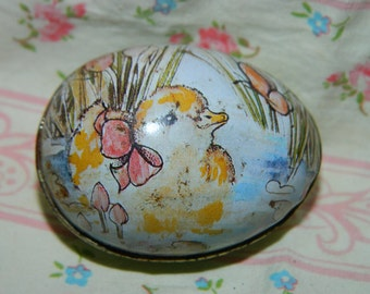 1985 Lithograph Tin Candy Holder Easter Duckling, Ducks, Easter, Made in Hong Kong,  Easter Basket Decor