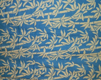 Batik Fabric 1970's Indonesian Batik, Bamboo Tropical  Blue & White, Java Batik, Linen Fabric, Javanese, Summer Time Fabric, Circa 1970s