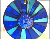 Stained Glass Mosaic Window Suncatcher Blue Sun