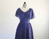 Navy Blue Polka Dot Dress • 1970s Sundress • Polka Dot Maxi Dress • Handkerchief Dress • Summer Dress • Midi Dress • 70s Sailor Dress Medium