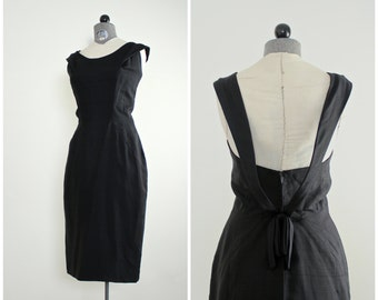 1950s Cocktail Dress • 50s Couture Dress by Grenelle Estevez • Vintage 1950s Dress •  1950s Party Dress •  Estevez Dress • 50s Wiggle Dress