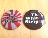 Set of 2 White Stripes Buttons!