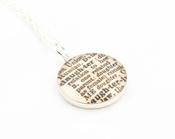 Sterling Silver Definition of DAUGHTER Pendant and Necklace - Vintage Dictionary