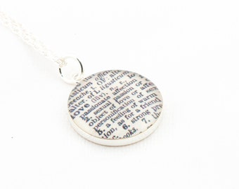 Sterling Silver Definition of LOVE Pendant and Necklace - Vintage Dictionary