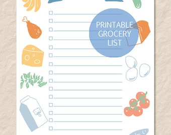 Printable Grocery List, Grocery Shopping Check List, Grocery Art List, Produce Art List, Printable Shopping List, Food Shopping List
