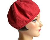 Women's Beret Hat in Red Linen - Women's Hat - Made to Order - 3 WEEKS FOR SHIPPING