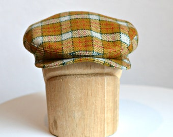 Men's Driving Cap in Vintage Plaid Wool - Retro Driving Cap - 3 WEEKS FOR SHIPPING