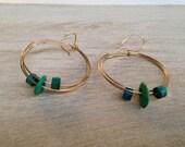 Gold Hoops Green Earrings Bohemian Jewelry Handcrafted in California Handmade Jewelry Green Aqua Ceramic Earrings
