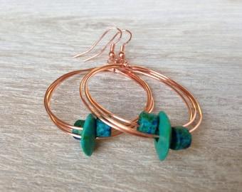 Copper Hoops Green Earrings Bohemian Jewelry Handcrafted in California Handmade Jewelry Green Aqua Ceramic Earrings