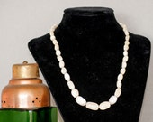 1950s Cream Mother of Pearl Shell Bead Necklace